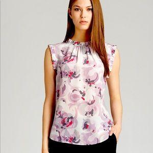 Reiss Mimi Floral Silk Ruffle Top - 4